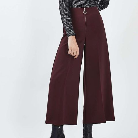 Zip Front Crop Wide Leg Trousers