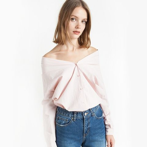 Pink Off the Shoulder Shirt