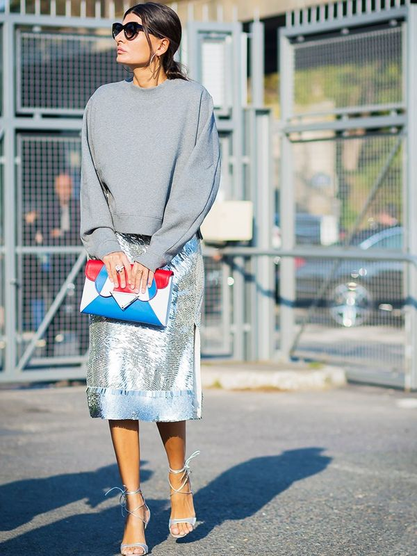 We'll be dressing down ours with heavy boots and knits by day for an off-duty spin on the trend (add heels if you want to be more sophisticated like Giovanna Battaglia, pictured here), and...