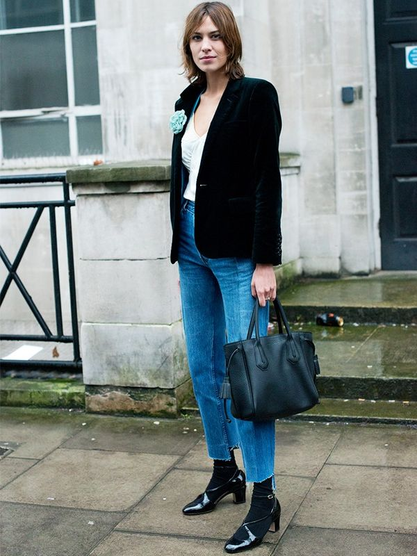 We'll be teaming a crushed velvet blazer with beat-up jeans and heels this fall for daytime decadence—think of Alexa Chung in this combination and go forth!