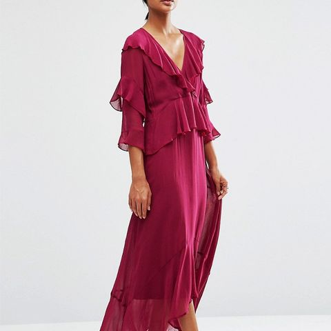 Ruffle Front Plunge Neck Maxi Dress