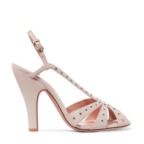 Crystal Embellished Suede Slingback Sandals