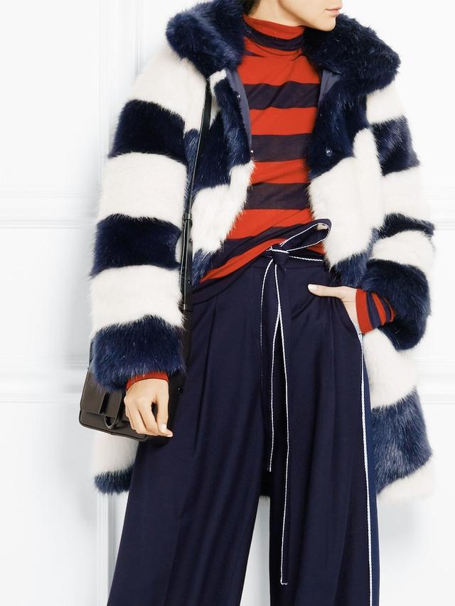 J.Crew Geo Striped Faux Fur Coat