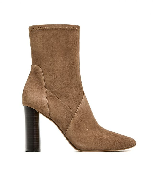 Zara High Heel Stretch Leather Ankle Boot