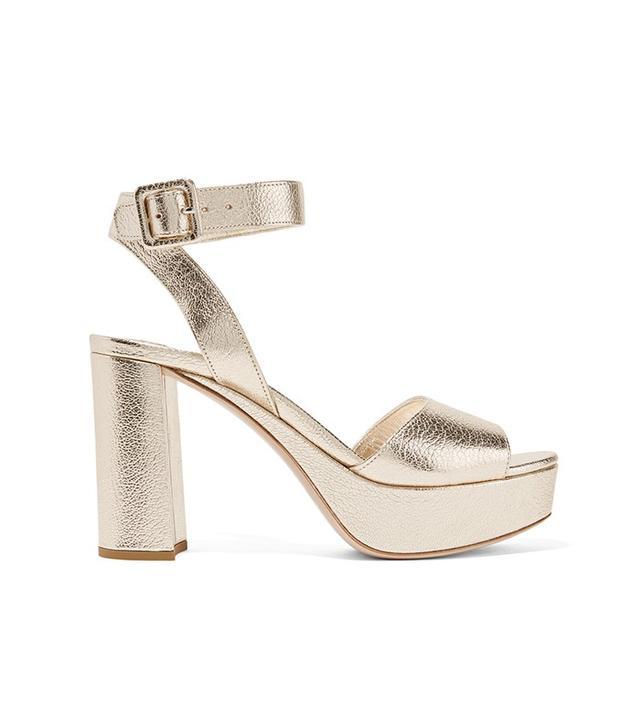 Miu Miu Metallic textured-leather platform sandals