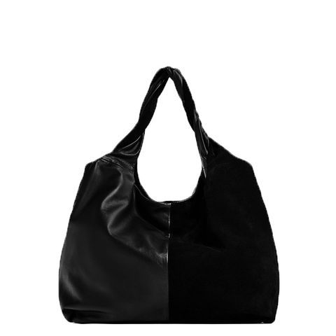 Contrast Leather Bucket Bag