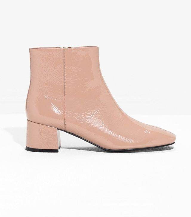 & Other Stories Glossy Leather Ankle Boots
