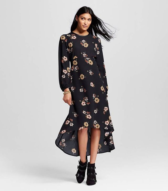 Who What Wear Long Sleeve Crepe Dress in Black Floral