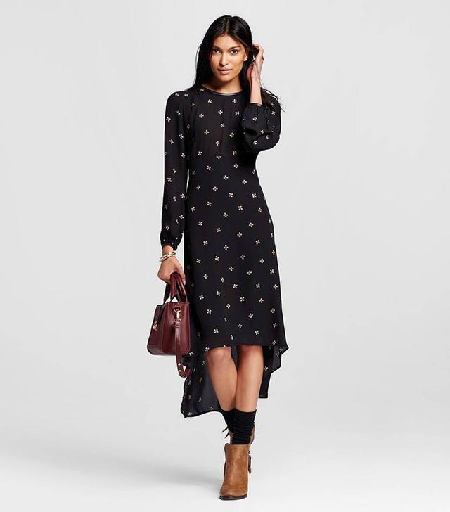Who What Wear Long Sleeve Crepe Dress in Black
