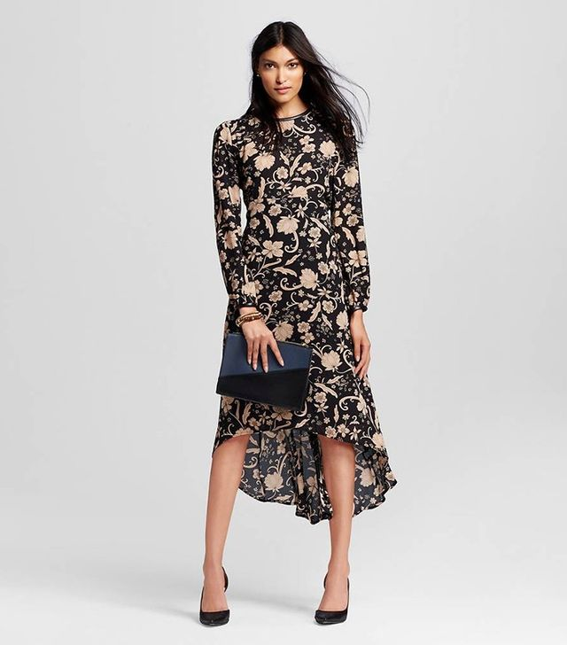 Who What Wear Long Sleeve Crepe Dress in Tan Floral