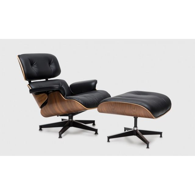 Eames Classic Lounge & Ottoman in Walnut and Black Vicenza Leather