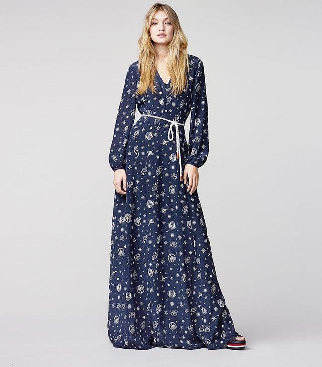 Tommy x Gigi Printed Silk Maxi Dress