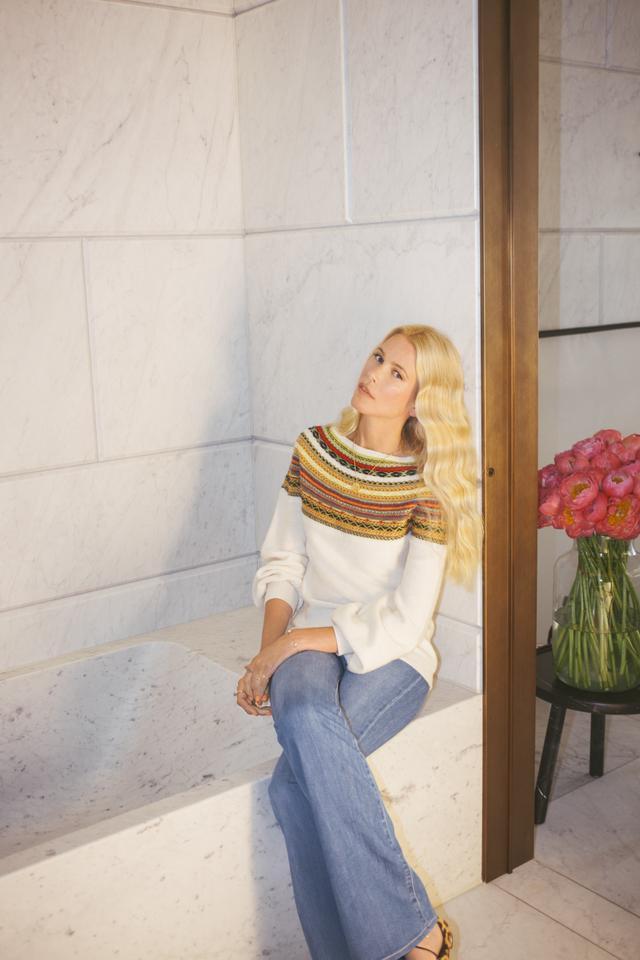 On Claudia Schiffer: Claudia Schiffer Knitwear Fair Isle Yoke Sweater($439).