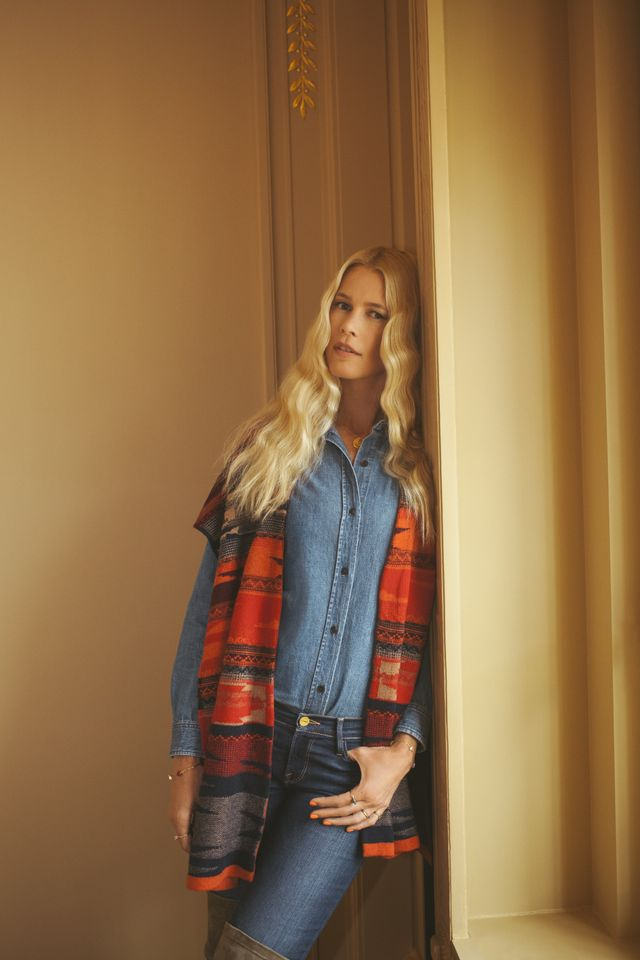 On Claudia Schiffer: M.i.h JeansAnsel Shirt ($187).