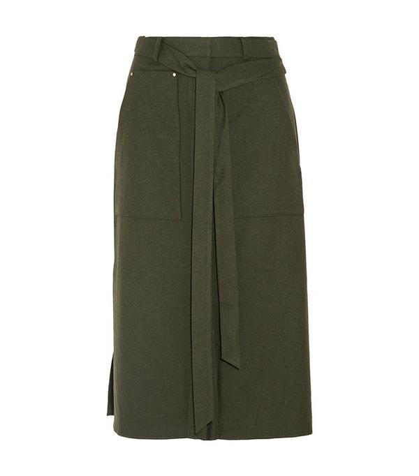 Tibi Belted Twill Skirt