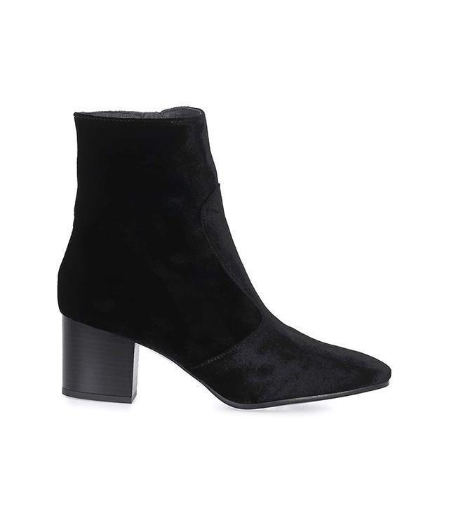 Topshop Velvet Western Ankle Boot