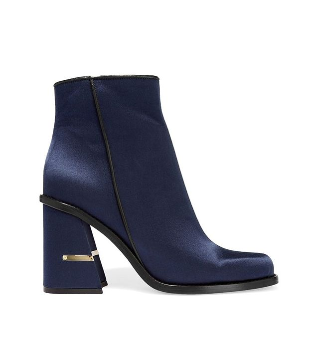 Tibi Nora Leather-Trimmed Satin Ankle Boot