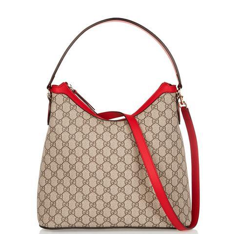 Linea A Hobo Leather-Trimmed Coated-Canvas Shoulder Bag