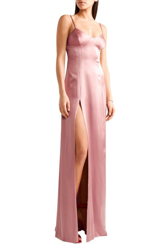Michelle Mason Silk-blend satin gown