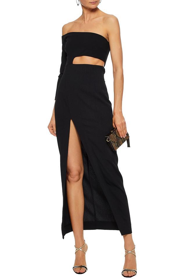 Solace London Farrah off-the-shoulder cutout stretch-crepe maxi dress