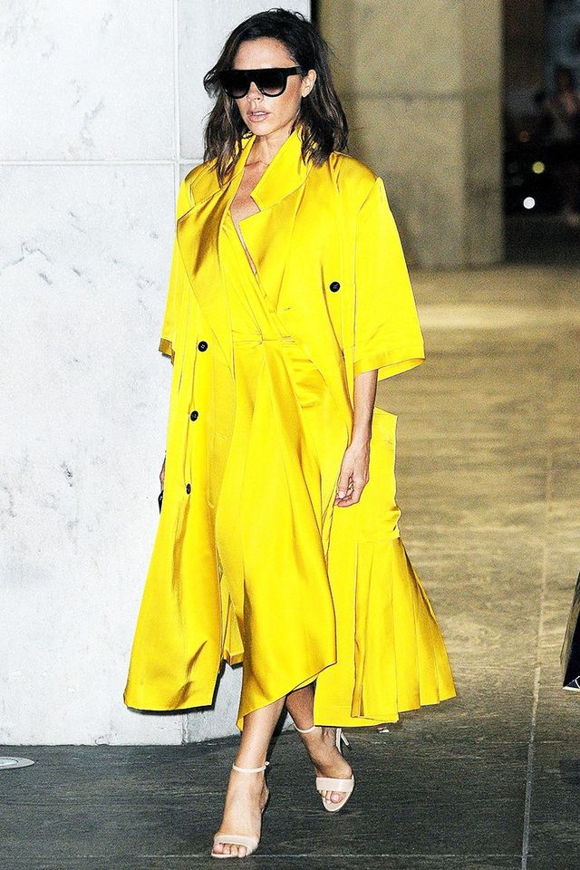 Style Notes: The designer really upped her game in June with this stunning yellow silk coat.