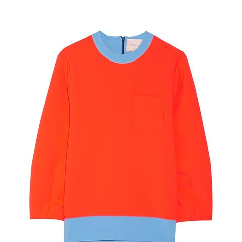 Colour-Block Stretch-Crepe Sweatshirt