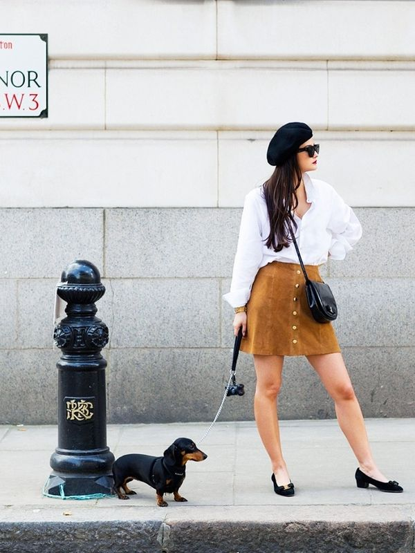 Style Notes: Peony Lim's autumn London look revolves around this suede skirt. You could wear it a million and one ways, but we appreciate her French-tinged mod-ish take with petite pumps and a...
