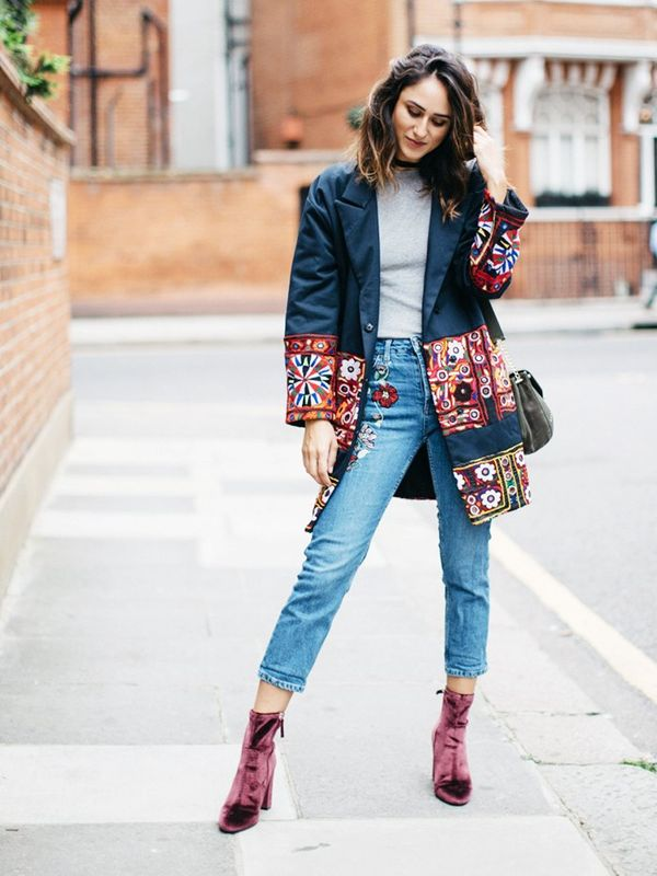 Style Notes: Embroidery is the detail du jour, and doesn't Soraya Bakhtiar know it. She's paired a double-whammy with an All Things Mochi coat and floral jeans. Throw in a velvet...