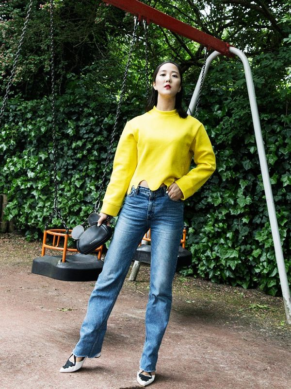 Style Notes: So you've got your regular jeans, but how are they going to feel new for September? We suggest follow the lead of Shini Park of Park and Cube: Find a statement sweatshirt, pair with...