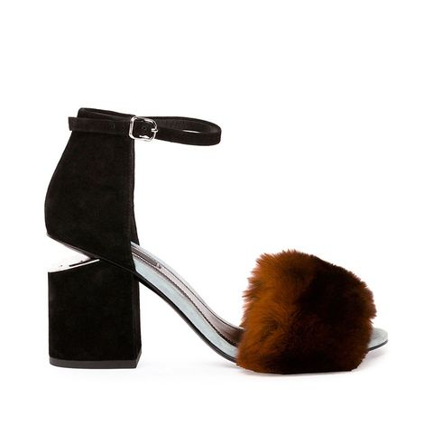 Abby Rabbit-Fur Tilt-Heel City Sandal in Ochre