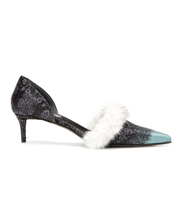 Balenciaga Fur-Trimmed Kitten-Heel Pumps