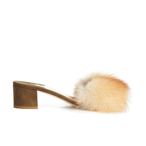 Tufted Genuine Fox Fur Slide Sandal