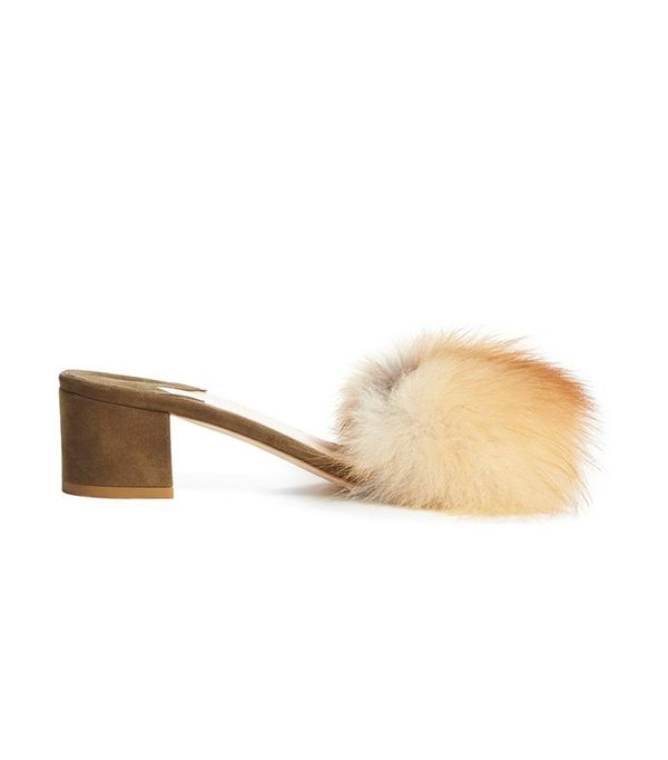Brother Vellies 'Tufted' Genuine Fox Fur Slide Sandal