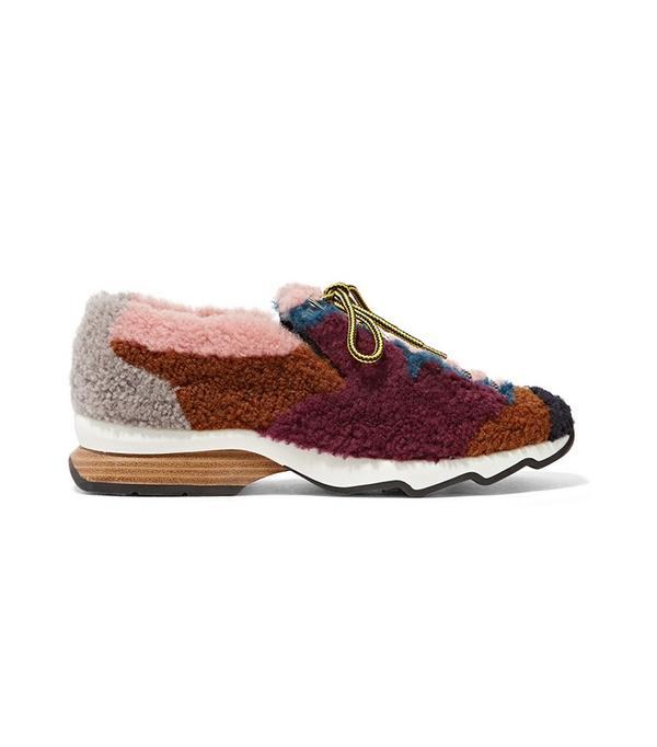 Fendi Patchwork Shearling Sneaker