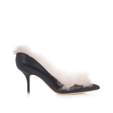 Emmanuelle Fur-Lined Leather Pumps