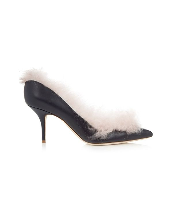 Malone Souliers Emmanuelle Fur-Lined Leather Pumps