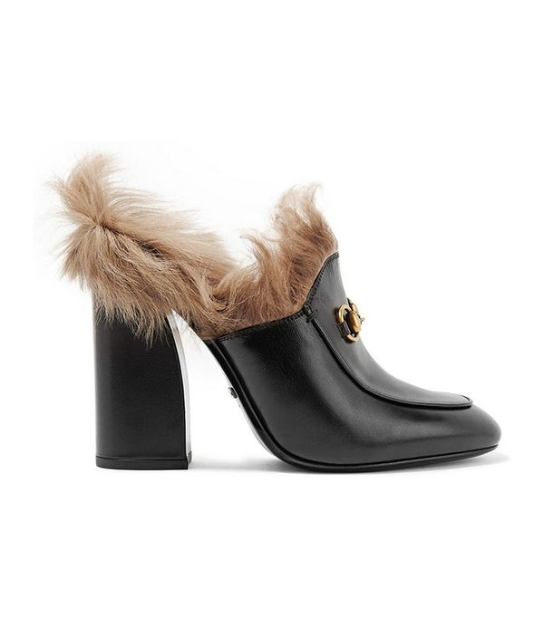 Gucci Shearling-Lined Leather Mules