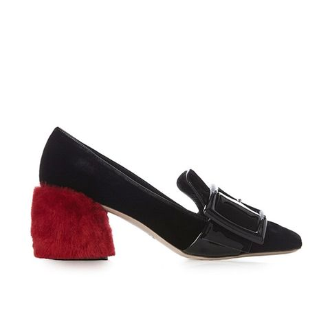 Fur Block-Heel Velvet Loafers