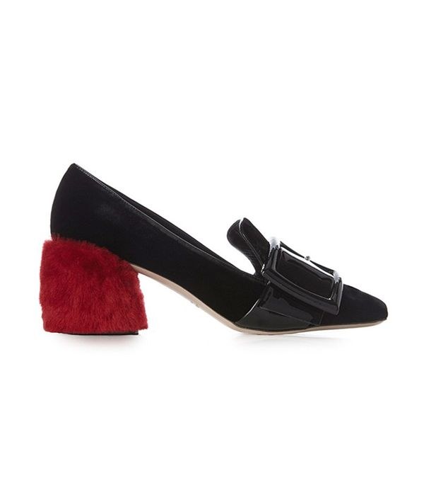 Miu Miu Fur Block-Heel Velvet Loafers