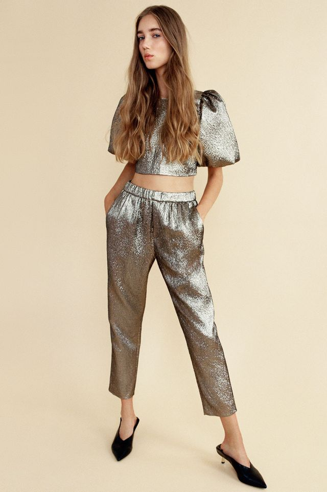 Zara Shiny Top with Full Sleeves and Shiny Jacquard Trousers