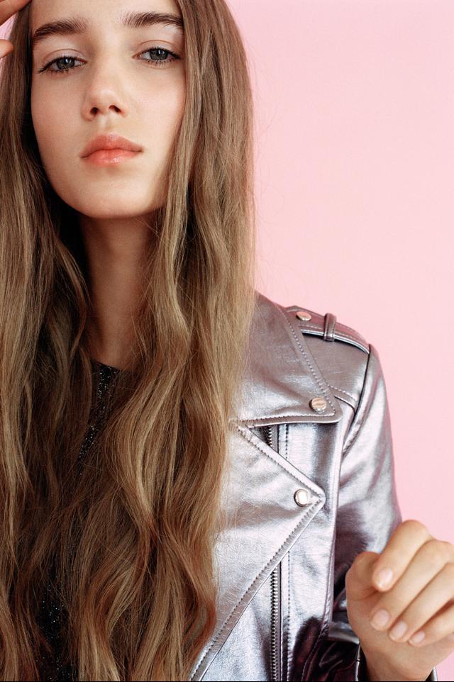Zara Metallic Biker Jacket