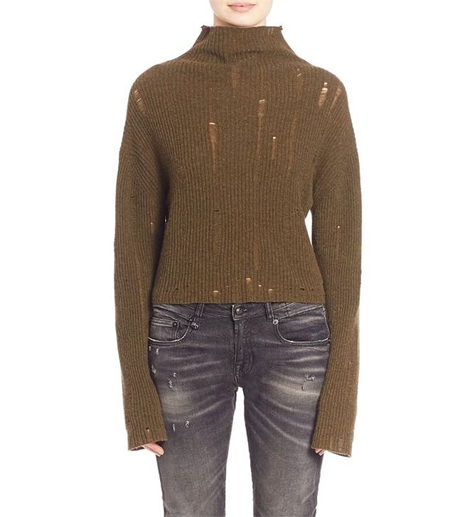 R13 Cashmere Turtleneck Cropped Sweater