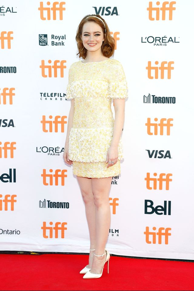 On Emma Stone: Chanel Resort 17 dress and Comète 18K Gold and Diamond Ring ($6400); Christian Louboutin Uptown D'Orsay Pumps ($845).
