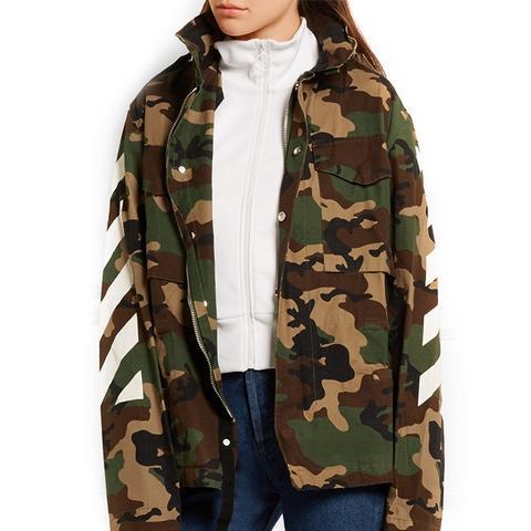 Oversized Camouflage-Print Cotton-Canvas Jacket