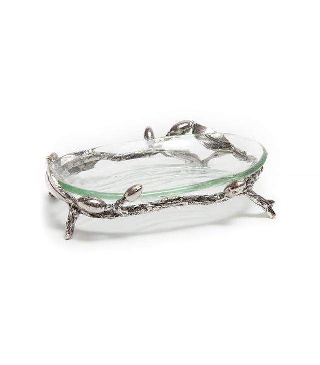 Zara Home Glass Soap Dish With Metallic Base