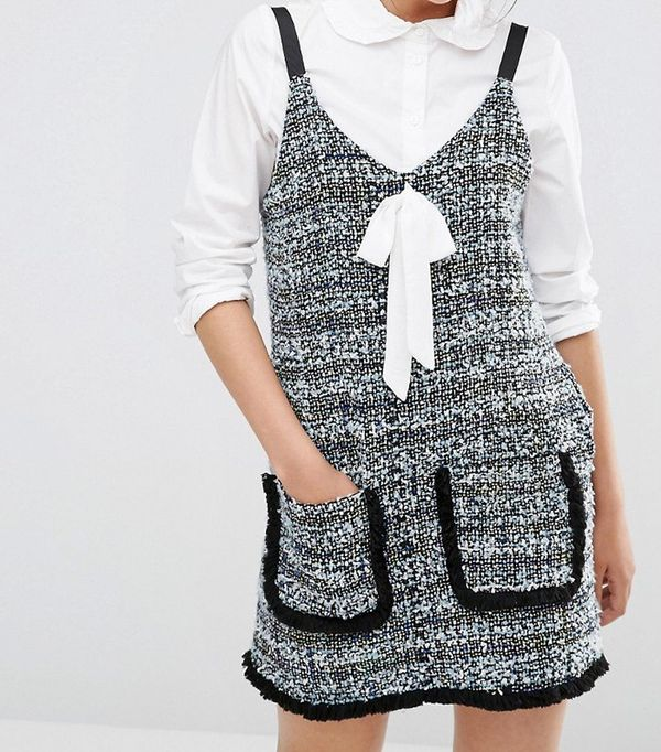 Sister Jane Tweed Pinafore Slip Dress $110