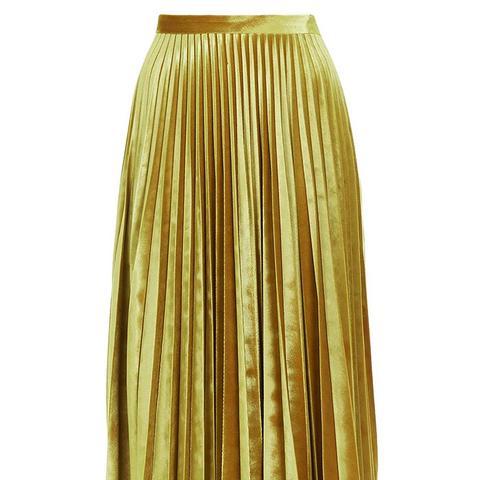 Velvet Pleat Midi Skirt