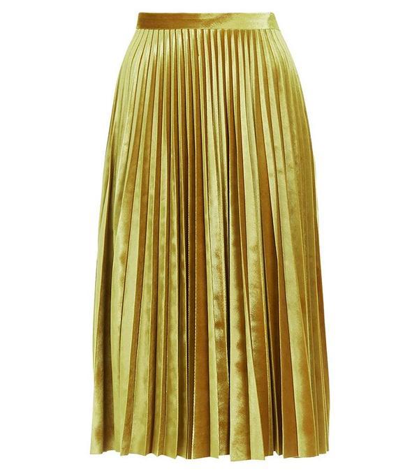 Topshop Velvet Pleat Midi Skirt