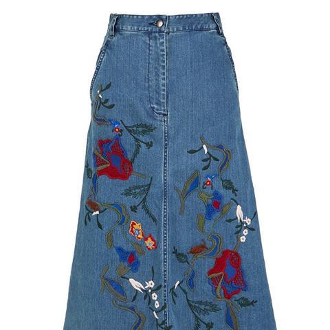 Marisol Embroidered Denim Skirt