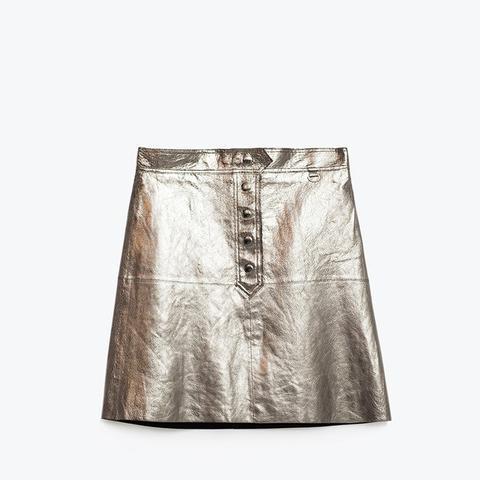 Metallic Leather Skirt